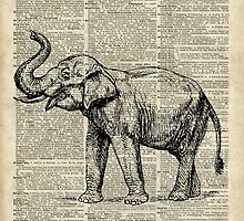 Vintage Illustration Of Happy Elephant over Old Dictionary Book Page  by DictionaryArt