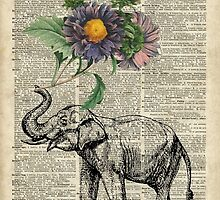 Elephant with flowers Over Dictionary Book Page by DictionaryArt