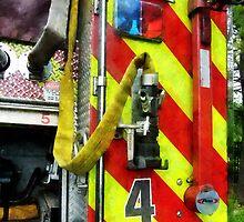Fire Hose on Striped Fire Engine by Susan Savad