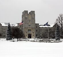Burruss Hall in the Snow by Jeff Stanford
