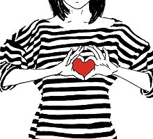 Girl in striped shirt with hands showing heart by ir-ra
