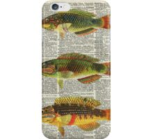 Colorful Fishes Over Old Encyclopedia Page iPhone Case/Skin
