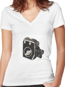 Vintage video camera Women's Fitted V-Neck T-Shirt