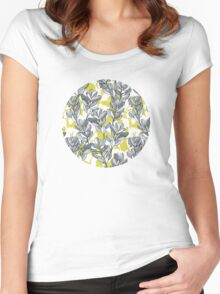 Leaf and Berry Sketch Pattern in Mustard and Ash Women's Fitted Scoop T-Shirt
