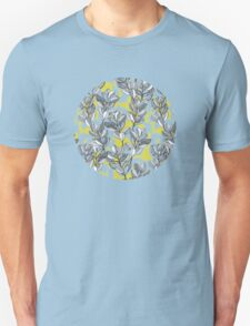 Leaf and Berry Sketch Pattern in Mustard and Ash T-Shirt