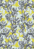 Leaf and Berry Sketch Pattern in Mustard and Ash by micklyn