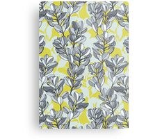 Leaf and Berry Sketch Pattern in Mustard and Ash Metal Print