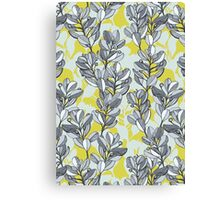 Leaf and Berry Sketch Pattern in Mustard and Ash Canvas Print