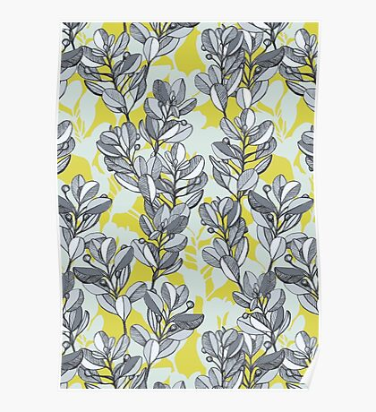 Leaf and Berry Sketch Pattern in Mustard and Ash Poster