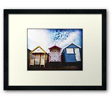 Beach Huts in evening light. Southend, Essex. Framed Print