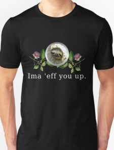 Sloth Flower Version with White Text Unisex T-Shirt