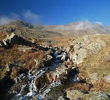Dow Crag from Red Gill, Lake District. by Andrew Briffett