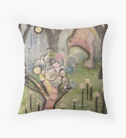 Hummingbird Bush Throw Pillow
