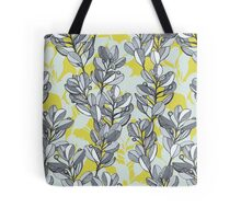 Leaf and Berry Sketch Pattern in Mustard and Ash Tote Bag