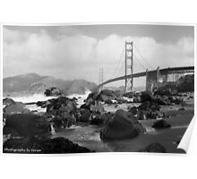 Golden Gate Bridge from Marshall Beach B & W Poster