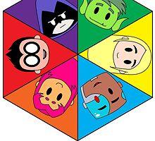 Teen Titans Chibi Hexagon by schnln01