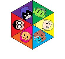 Teen Titans Chibi Hexagon Photographic Print