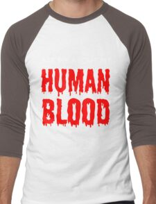 Ask Me About My Human Blood White and Red Men's Baseball ¾ T-Shirt
