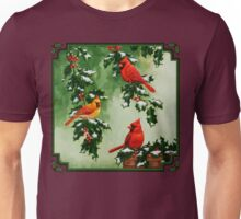 Red Cardinal Birds and Christmas Holly Unisex T-Shirt