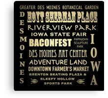 Des Moines Iowa Famous Landmarks Canvas Print