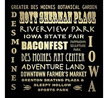 Des Moines Iowa Famous Landmarks Photographic Print