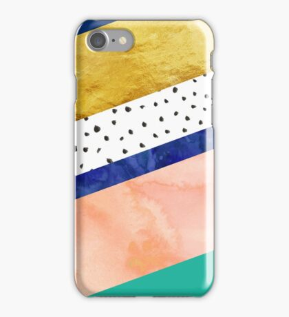 Blue gold teal abstract watercolor pattern iPhone Case/Skin
