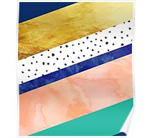 Blue gold teal abstract watercolor pattern Poster