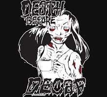 Death Before Decaf Zombie Womens Fitted T-Shirt