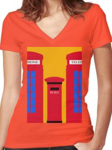 POST & TELEPHONE Women's Fitted V-Neck T-Shirt