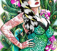 Tattooed Peacock Pinup by MissCarissaRose