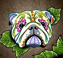Day of the Dead English Bulldog Sugar Skull Dog by prettyinink
