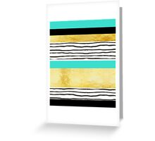 Turquoise gold black abstract watercolor design Greeting Card