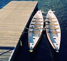 Beautiful summer canoes at dock by fcphoto