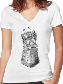 Dr Who Shirt - Pug-Ros Women's Fitted V-Neck T-Shirt