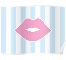 Pink Pastel Lips with Blue Stripes Poster