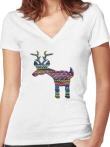 Deer Knit Women's Fitted V-Neck T-Shirt