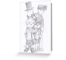 Case Closed x Professor Layton Greeting Card