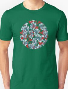 Leaf and Berry Sketch Pattern in Red and Blue Unisex T-Shirt