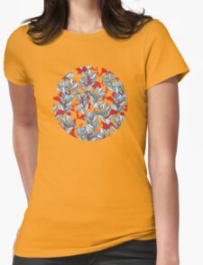 Leaf and Berry Sketch Pattern in Red and Blue Womens Fitted T-Shirt