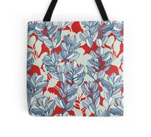 Leaf and Berry Sketch Pattern in Red and Blue Tote Bag