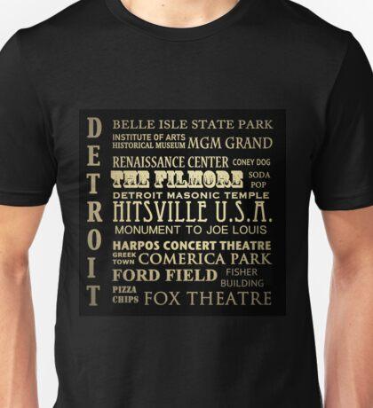 Detroit Michigan Famous Landmarks Unisex T-Shirt