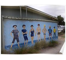 Painted Mens' Restroom Wall Sign. Poster
