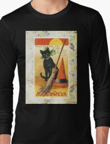 Victorian Halloween Black Cat Witches Hat Long Sleeve T-Shirt