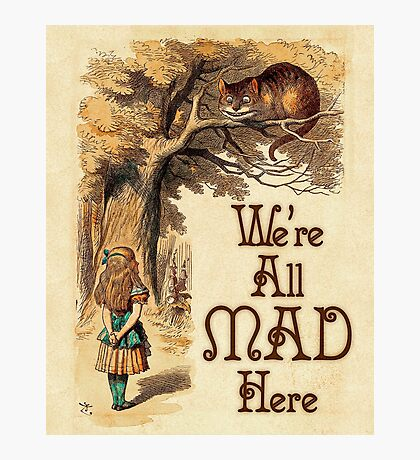 Alice in Wonderland -  We're All Mad Here -  Mad Hatter Quote 233 Photographic Print