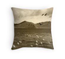 Raven and Gulls Throw Pillow