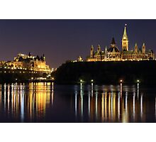 Canadian Parliament & Chateau Laurier - Night Photographic Print