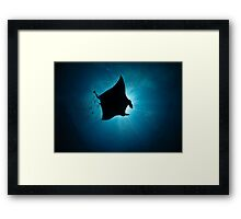 Manta Silhouette-flying past the sun at noon Framed Print