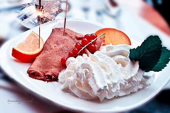 Sparkling Crepes and whipped Cream for an Afternoon Delight - Paris, France by Yannik Hay