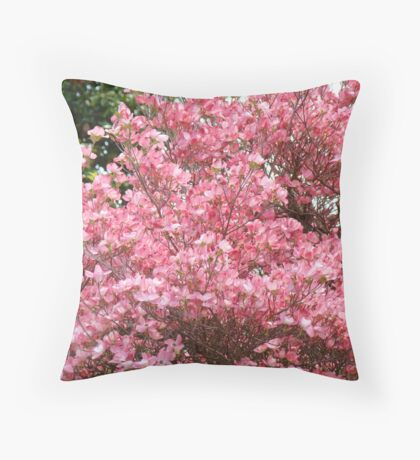 Trees Pink Dogwood Flowers art prints Baslee Troutman Throw Pillow