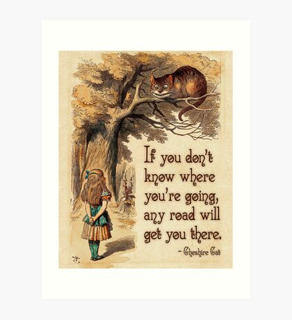 Alice in Wonderland Quote - We're All Mad Here - Cheshire Cat Quote - 0237 Art Print